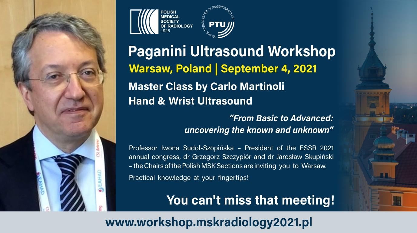 PAGANINI Ultrasound Workshop Master Course by Carlo Martinoli: HAND & WRIST